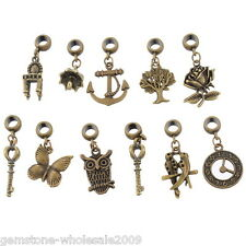 Wholesale Lots Mixed Bronze Tone Dangle Beads Fit European Charm Bracelet