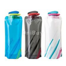 750mL Foldable Sport Cycling Camp Water Bottle Cup Bag BPA-Free Reusable & Hook
