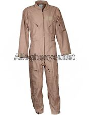 USGI Military CWU-27/P Fire Resistant NOMEX FLIGHT SUIT Tan Flyer Coveralls MINT