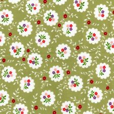 Flowers Floral Green 100% Cotton Country Vintage Fabric For Crafting Dressmaking
