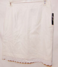 SHARAGANO STUDIO Womens Straight Lined Skirt White Linen Blend Office Lace New