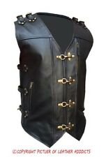 MENS REAL COW LEATHER BLACK HEAVY DUTY MOTORCYCLE BIKER STYLE VEST WAISTCOAT-B24