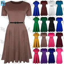 Womens Ladies Plain Belted Cap Sleeve Flared Swing Midi Skater Dress Plus Size