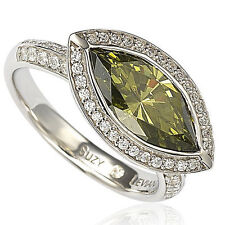 Suzy Levian Sterling Silver Bezel Marquise Simulated Peridot Ring