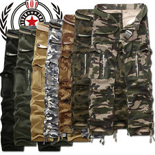 Mens Army Cargo Camo Combat Military Trousers Camouflage Pocket Pants Casual