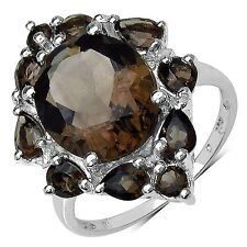 6.03 CTW Genuine Smoky Quartz Trendy Knuckle Sterling Silver Ring/925