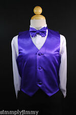 PURPLE Satin VEST + BOW TIE / LONG NECK TIE Formal Boys Suits & Tuxedo Sz S-28