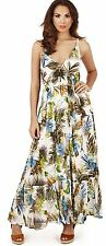 Ladies Tropical Print Tiered Strappy V Neck Maxi Dress, Cream/Pink or Cream/Blue