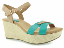 CLARKS PERFECT LAUGH TURQUOISE LEATHER WEDGE HEEL SANDALS SIZE 8