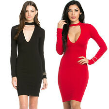 My Yuccie Sexy Solid Long Sleeve V Neck Plunge Mini Dress Bodycon Clubwear