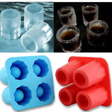 Silicone 4-Cup Ice Cube Tray Freeze Mould Bar Jelly Pudding Chocolate Mold Maker