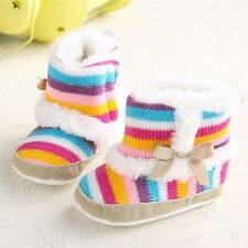 Newborn Baby Infant Toddler Pram Shoes Girls Bow Colorful Cosy Boots Prewalker