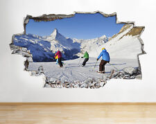 Skiing Mountains Snow Smashed Wall Vinyl Poster Room Wall Decal Art 3D Stickers