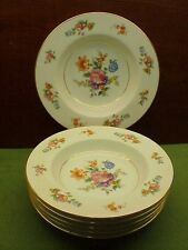 Set of 6 Noritake Occupied Japan Flower Pattern Rimmed Soup Bowls Exc. Cond
