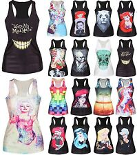 Womens Print Vest Tank Top Blouse Sweatshirt Club Wear Party T-Shirt Tee Singlet