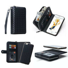 Woven Pattern Zipper Pu Leather Wallet Card Bag Magnetic Cover Case For phones