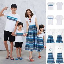 Summer Family Clothes Father Boy T-shirt Mother Daughter Dress Girl Kids Dresses