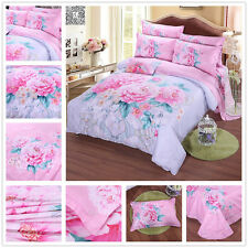 Cotton Duvet Quilt Doona Cover Set Floral Queen King Size Bed Covers Linen New