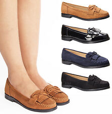 WOMENS LADIES CASUAL FLAT BOW FRINGE SLIP ON LOAFERS COMFORT BLACK SHOES SIZE