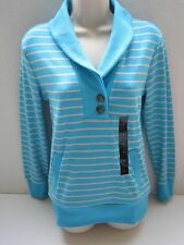 BANANA REPUBLIC Women's Blue Striped Shawl Collar Ribbed Pullover Size S,M NWT