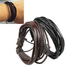 Men Punk Multilayer Tribal Surfer Leather Wristband Wrap Cuff Bracelet Bangle