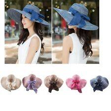 Womens Beach Hat Bow Derby Cap Wide Brim Floppy Foldable Summer Sun Straw Hat