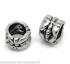 Wholesale Lots Silver Tone Tube Spacer Beads Fit European Charm Bracelet