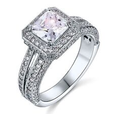 Created Diamond Solid 925 Sterling Silver Wedding Promise Engagement Ring