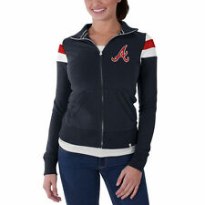 Atlanta Braves '47 Women's Crossover Full Zip Track Jacket - Navy - MLB