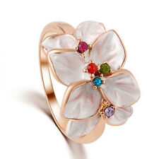 Pink Chinese Plum Flower Cocktail Ring | GOLD PLATED | Swarovski Crystal Lover