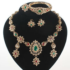 Hot Sale Green Zircon Crystal Wedding Necklace Bangle Earring Ring Jewelry Sets
