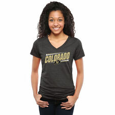 Colorado Buffaloes Women's Double Bar Tri-Blend V-Neck T-Shirt - Black - College