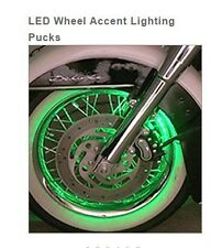 KAWASAKI  LED MOTORCYCLE WHEEL ACCENT LIGHTS LIGHTING PUCKS CHROME GLOW