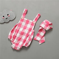 Baby rompers&headbands infant girl Newborn baby clothes plaid sleeveless rompers