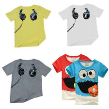 Boys T Shirt Earphone Print Short Sleeve Tops Toddler Crew Neck Tee Baby Kids DY