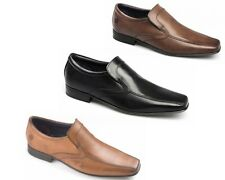 MENS IKON ENGLISH TAN BLACK BROWN LEATHER SLIP ON SHOES SIZES UK 6 - 12