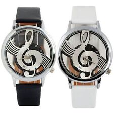Fashion Womens Mens Music Notation Hollow Dial Leather Analog Quartz Wrist Watch