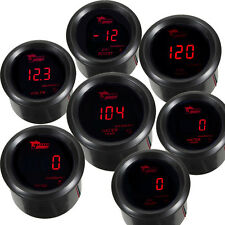 "2"" 52mm Black Car Digital Red LED Boost Water Oil Temp Press Volt Tacho Gauge"