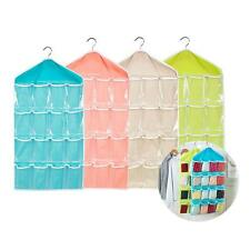 Foldable 16 Grids Pouch Clothes Sock Jewery Wash Hanging Storage Bag Organizer