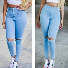 Women Summer High Waist Skinny Pencil Pants Ripped Demin Jeans Stretchy Trousers