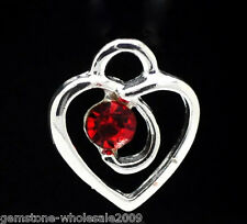 Wholesale Lots Silver Plated Red Rhinestone Heart Charm Pendants 13x12mm