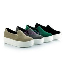 Womens Wedge Heel Platform Suede Leather Slip On Sneakers Shoes Creeper Pump HOT