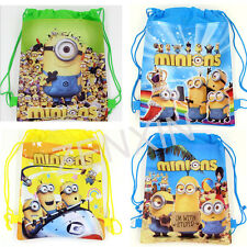 New Despicable Me Minion Drawstring Backpack Shoulder Cute Beach Bag Kids Party