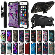 "For Apple iPhone 6/ 6s 4.7"" Design Hybrid Rugged Kickstand Holster Case Cover"