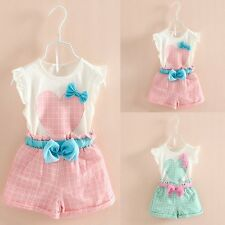 2PCS Toddler Kids Baby Girls T-shirt Tops+Plaid Shorts Pants Outfits Clothes Set
