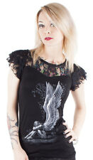 Spiral Clothing Gothic Occult Goth Enslaved Angel Lace Top Cap Sleeve Weeping