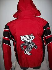 WISCONSON BADGERS STARTER 1/2 ZIP Winter Jacket Removable Hoody RED M L XL 2X