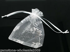 Wholesale NEW 7x9cm White Butterfly Organza Wedding Gift Bags&Pouches
