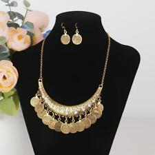 Vintage Women Jewelry Set Metallic Coin Earring and Necklace