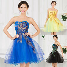 Sexy Short Mini Bridesmaid Prom Dress Peacock Cocktail Evening Masquerade Gown